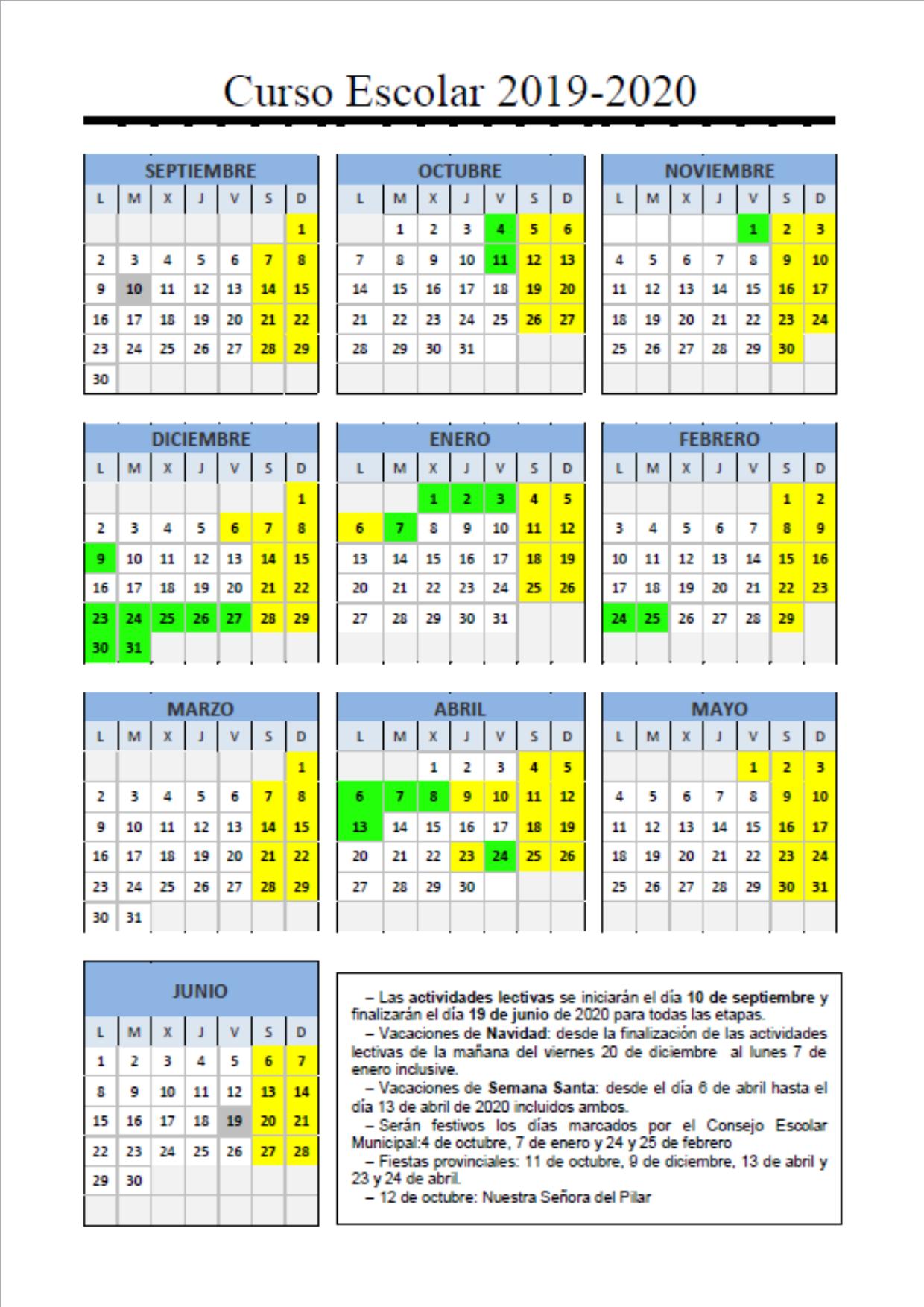 Calendario Escolar Madrid 2019 Y 2020.Calendario Escolar 2019 20 Colegio Nuestra Senora Del Pilar